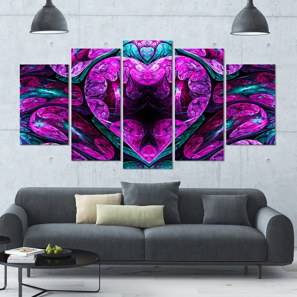 Designart 'Purple Cold Mystical Heart' Floral Wall Art on Canvas - 60x32 5 Panels