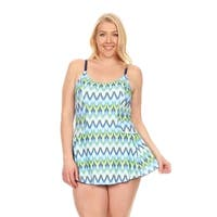 Dippin' Daisy's Women's Blue Batik Plus Size 1-piece Swimdress