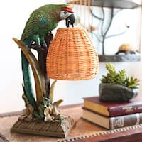 River of Goods Welcoming Parrot with a Wicker Basket Shade Table Lamp