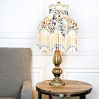 Maison Rouge Rika Victorian Floral and Fringe Rustic 26.5-inch Table Lamp