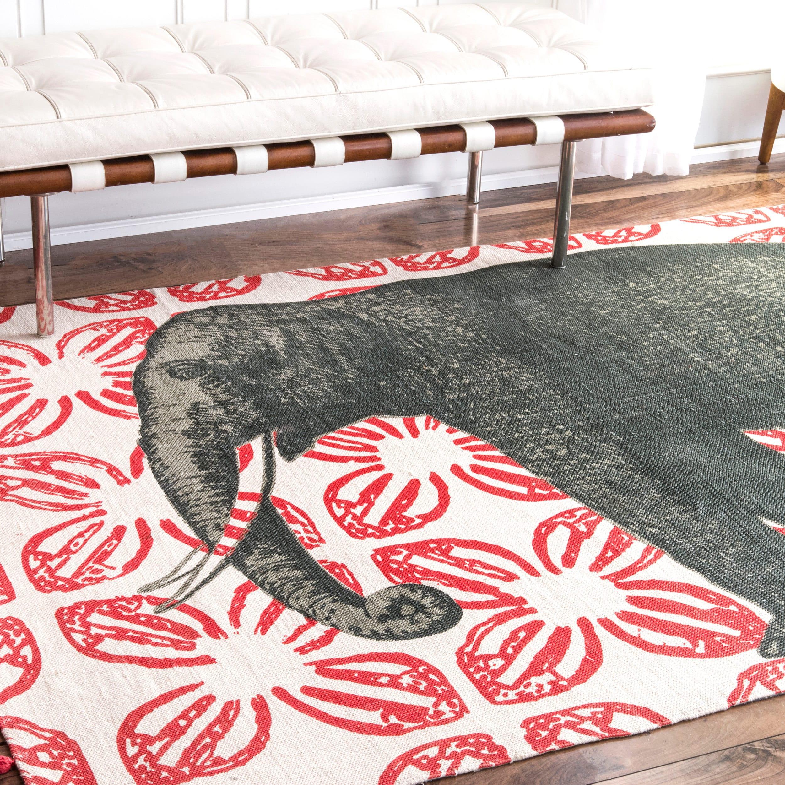 nuLOOM Handmade by Thomas Paul Cotton Printed Elephant Ru...