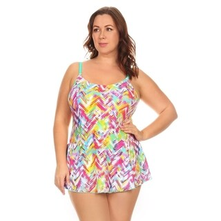 Dippin' Daisy's Women's Multicolored Nylon and Spandex Plaid Plus-size One-piece Swimdress|https://ak1.ostkcdn.com/images/products/14628910/P21169581.jpg?_ostk_perf_=percv&impolicy=medium