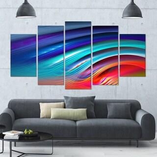 Designart 'Beautiful Fractal Rainbow Waves' Modern Floral Artwork - 60x32 5 Panels