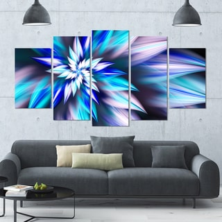Designart 'Dancing Light Blue Flower Petals' Modern Floral Artwork - 60x32 5 Panels