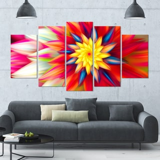 Designart 'Amazing Dance of Red Petals' Modern Floral Artwork - 60x32 5 Panels