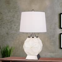 #m.r.5142 Modern White Luster 25.5 inch Table Lamp with Brushed Steel Base and LED Nightlight