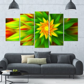 Designart 'Amazing Dance of Green Petals' Modern Floral Artwork - 60x32 5 Panels