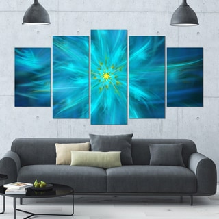 Designart 'Amazing Dance of Blue Petals' Modern Floral Artwork - 60x32 5 Panels