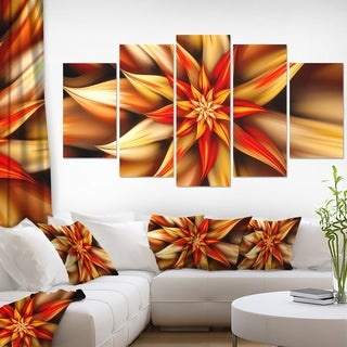 Designart 'Beautiful Brown Flower Petals' Modern Floral Artwork - 60x32 5 Panels