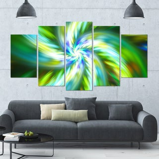 Designart 'Beautiful Green Flower Petals' Modern Floral Artwork - 60x32 5 Panels