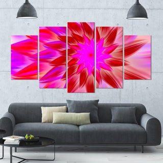 Designart 'Beautiful Pink Flower Petals' Modern Floral Artwork - 60x32 5 Panels