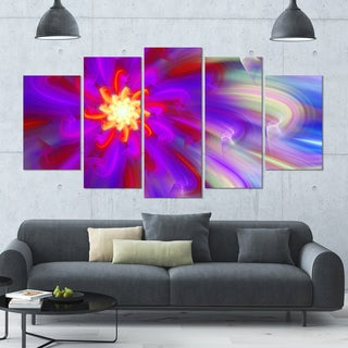 Designart 'Beautiful Purple Flower Petals' Modern Floral Artwork - 60x32 5 Panels
