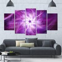 Designart 'Rotating Bright Purple Fireworks' Modern Floral Artwork - 60x32 5 Panels