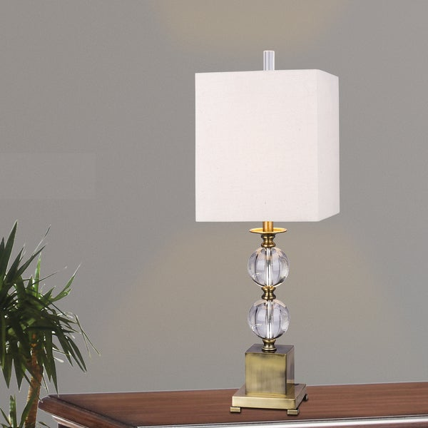 Merveilleux #m.r.5139 Modern Stacked Crystal Ball 33 Inch Table Lamp With Antique Brass  Metal Accents