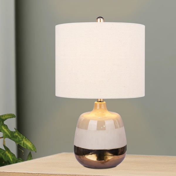 #8967 Modern 23 inch Ceramic Table Lamp With 3-Tone Effect in Grey, White & Gold