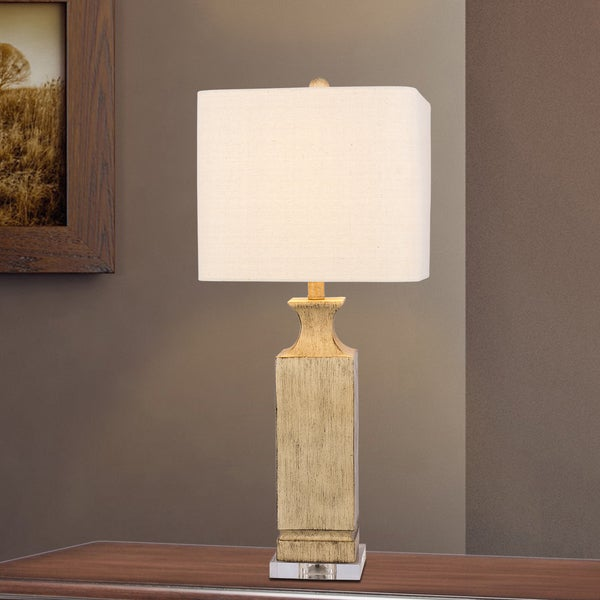 #6218BEG 30 inch Beige Resin Column Table Lamp with Clear Acrylic base