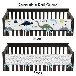 Sweet Jojo Designs Blue and Green Mod Dinosaur Collection Microfiber Long Crib Rail-guard Cover