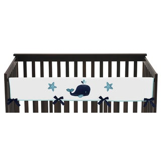 Sweet Jojo Designs Whale Collection Long Crib Rail Guard Cover