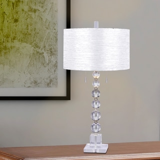 #m.r.5138 Clear Stacked Crystal Ball 34 inch Table Lamp with Brushed Steel Metal Accents
