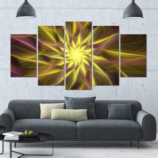 Designart 'Shining Golden Exotic Fractal Flower' Modern Floral Artwork - 60x32 5 Panels