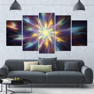 Designart 'Shining Multi-Color Exotic Flower' Modern Floral Artwork - 60x32 5 Panels