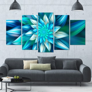 Designart 'Huge Blue Fractal Flower' Modern Floral Artwork - 60x32 5 Panels