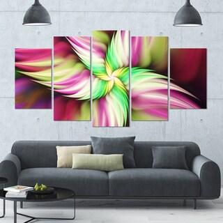 Designart 'Huge Rotating Pink Flower' Modern Floral Artwork - 60x32 5 Panels
