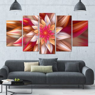 Designart 'Huge Red Fractal Flower' Modern Floral Artwork - 60x32 5 Panels