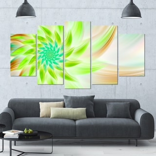 Designart 'Huge Bright Green Fractal Flower' Modern Floral Artwork - 60x32 5 Panels
