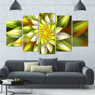 Designart 'Huge Yellow Fractal Flower' Modern Floral Artwork - 60x32 5 Panels