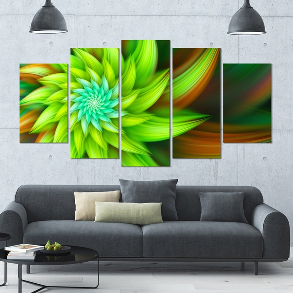 Designart 'Huge Clear Green Fractal Flower' Modern Floral Artwork - 60x32 5 Panels