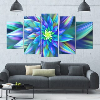 Designart 'Huge Light Blue Fractal Flower' Modern Floral Artwork - 60x32 5 Panels