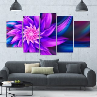 Designart 'Huge Purple Fractal Flower' Modern Floral Artwork - 60x32 5 Panels