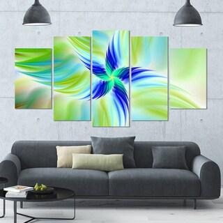 Designart 'Huge Rotating Green Flower' Modern Floral Artwork - 60x32 5 Panels