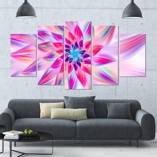 Designart 'Huge Pink Blue Fractal Flower' Modern Floral Artwork - 60x32 5 Panels