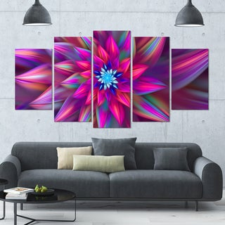 Designart 'Huge Purple Pink Fractal Flower' Modern Floral Artwork - 60x32 5 Panels