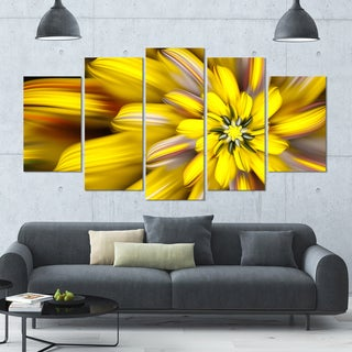 Designart 'Massive Yellow Fractal Flower' Modern Floral Artwork - 60x32 5 Panels
