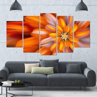 Designart 'Massive Orange Fractal Flower' Modern Floral Artwork - 60x32 5 Panels