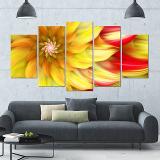 Designart 'Rotating Yellow Red Fractal Flower' Modern Floral Artwork - 60x32 5 Panels