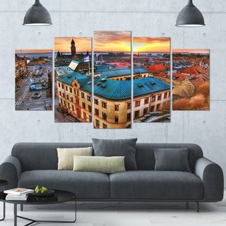 Designart 'Colorful City Landscape' Modern Cityscape Wall Art - 60x32 5 Panels