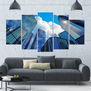 Designart 'Elevated Business Buildings' Modern Cityscape Wall Art - 60x32 5 Panels