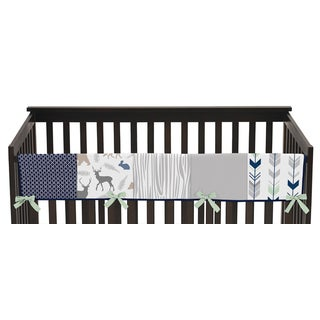 Sweet Jojo Designs Navy/Mint Woodsy Collection Long Crib Rail Guard Cover