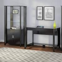 Aero Writing Desk and Tall Library Storage Cabinet with Doors