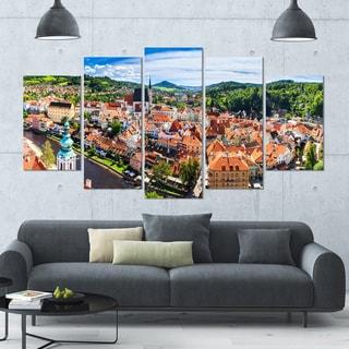 Designart 'City Aerial View Panorama' Modern Cityscape Wall Art - 60x32 5 Panels