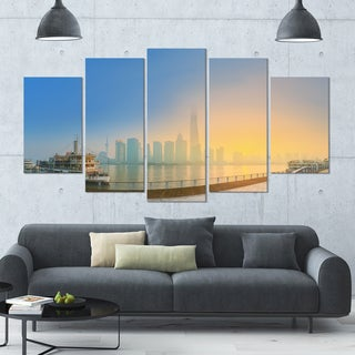 Designart 'Shanghais Night with Lights' Modern Cityscape Wall Art - 60x32 5 Panels