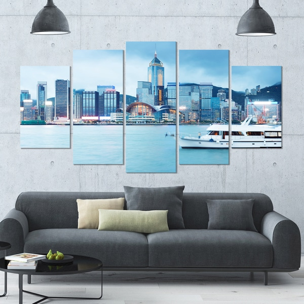 Shop Designart 'Hong Kong City At Night' Modern Cityscape