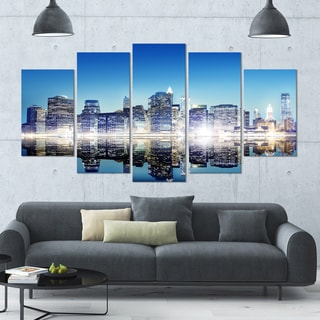 Designart 'Skyscraper on New York City' Cityscape Canvas Wall Art - 60x32 5 Panels