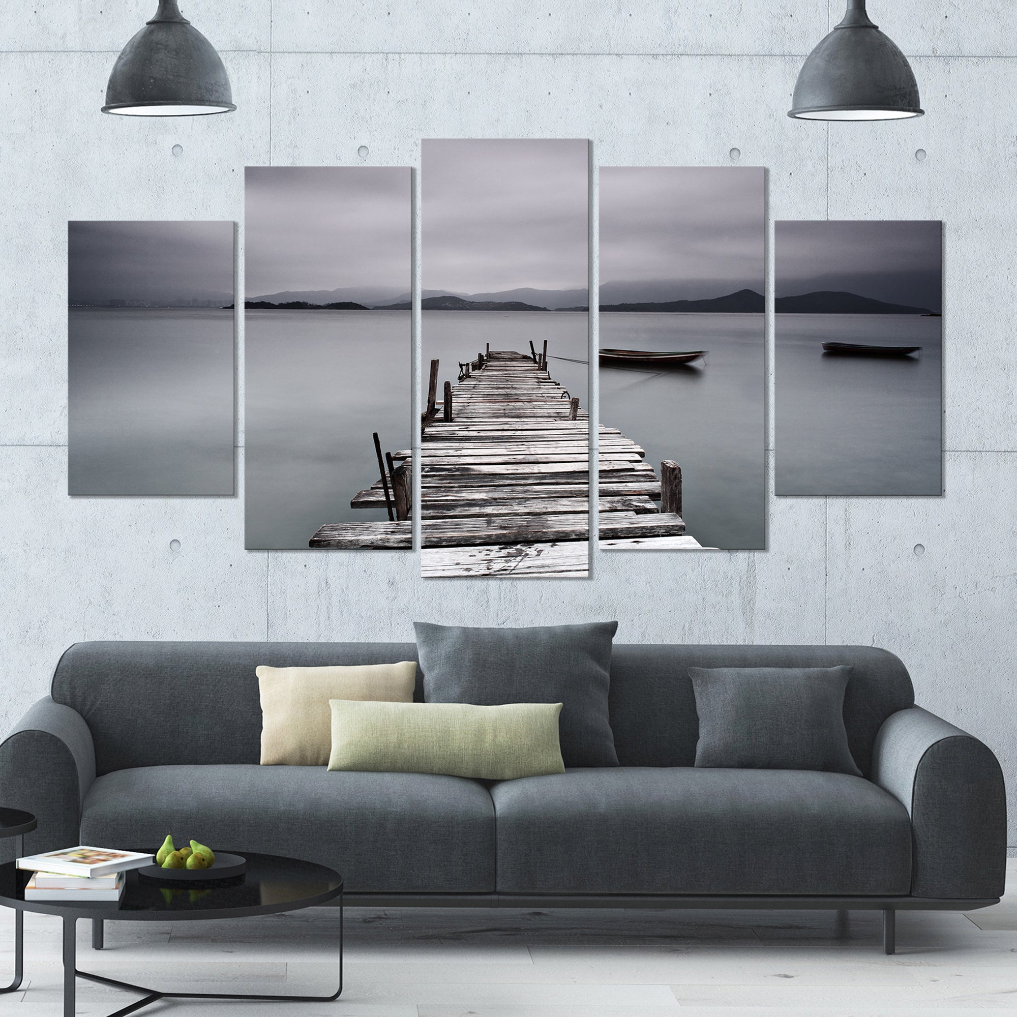 Designart Pier And Boats At Seashore Bridge And Pier Canvas Wall Art 60x32 5 Panels On Sale Overstock 14629105