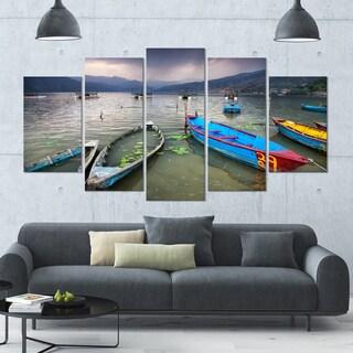 Designart 'Boats near Pokhara Lake' Boat Canvas Wall Art - 60x32 5 Panels