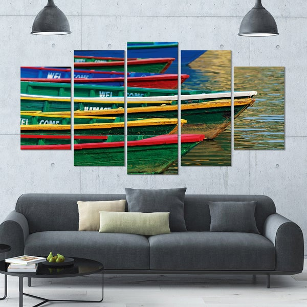 Designart 'Color Boats on Phewa Lake Nepal' Boat Wall Artwork on Canvas -  60x32 5 Panels - Multi-color